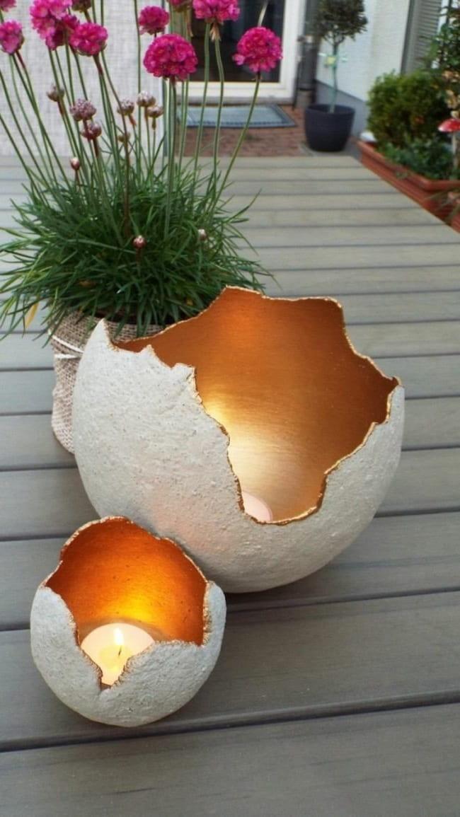 Удивительный по красоте подсвечник в виде разбитой яичной скорлупы