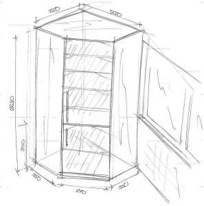 Чертеж углового шкафа