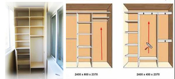 Шкаф на балконе и его размеры