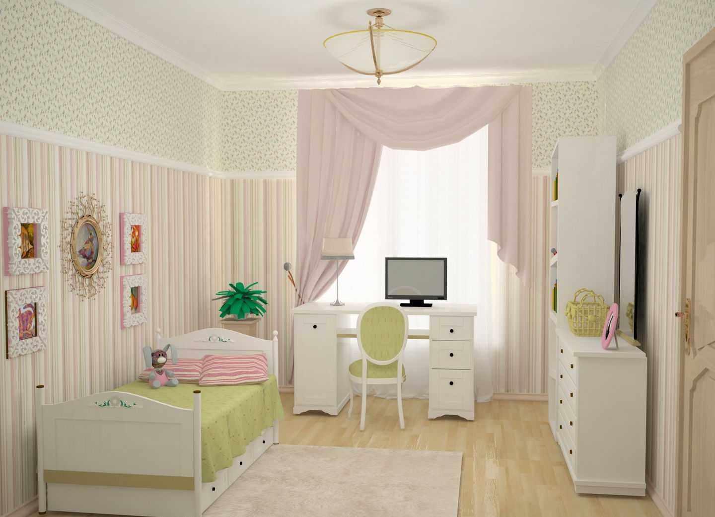 пример светлого стиля спальни для девочки