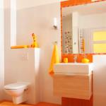 Оранжевая плитка в ванне