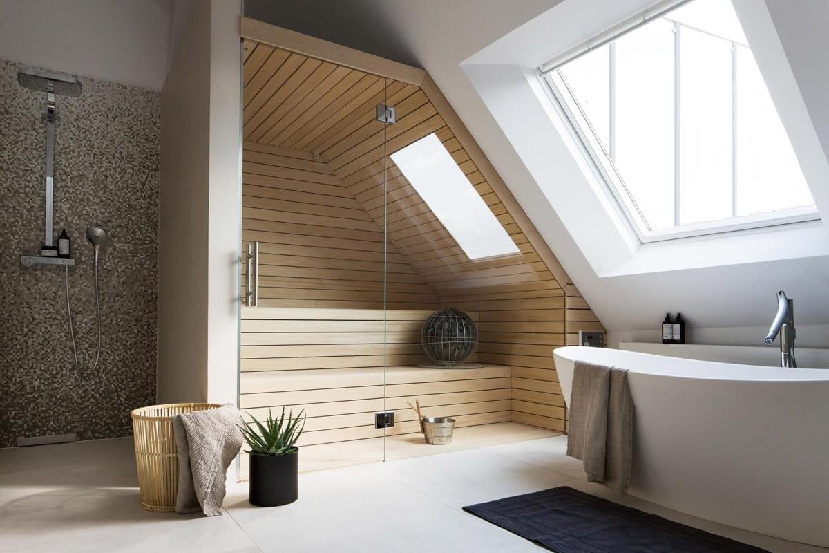 Любителям парных по душе придется современная ванная комната, объединенная с финской сауной и душем