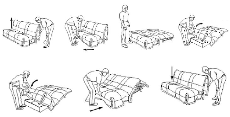 Как разложить и сложить диван аккордеон