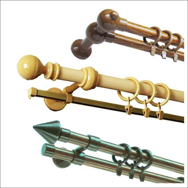 Современные металлопластиковые карнизы двухрядные выпускаются разной длины (1,4 м - 5 м).