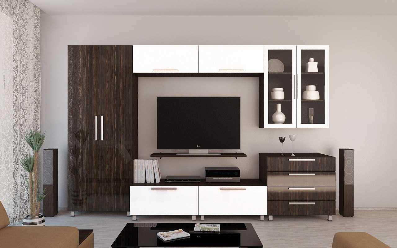 современный дизайн гостиной комнаты со стенкой для обуви