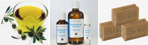 Хозяйственное мыло, мало оливковое и салициловый спирт
