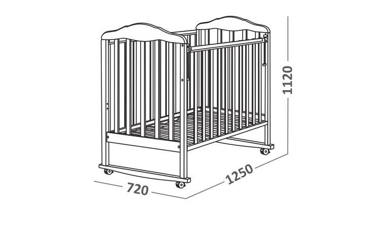 Стандартные размеры детской кроватки для новорожденных 1250 х 720