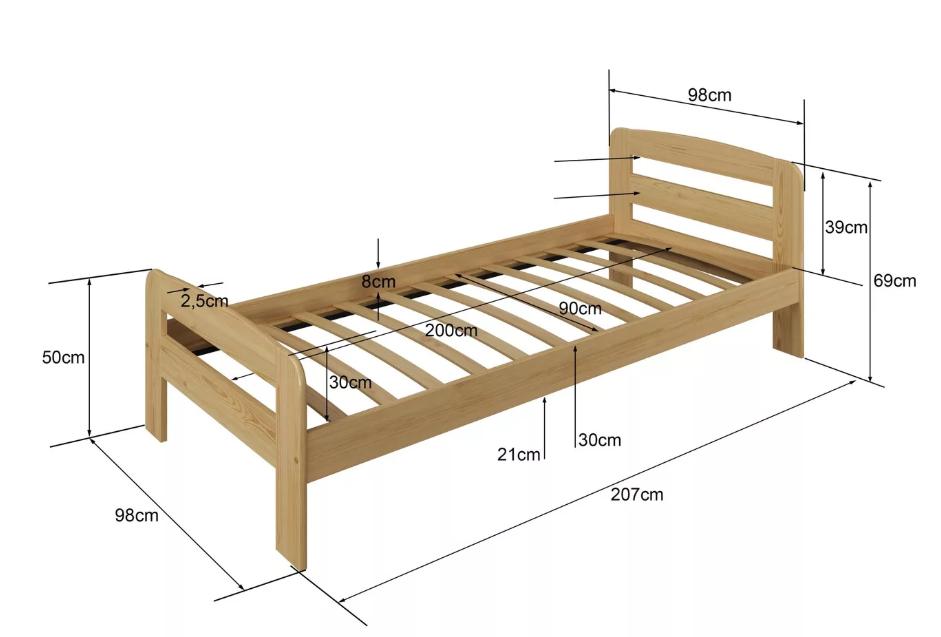 Односпальная кровать Длина 200-210 см. Ширина 90-100 см.