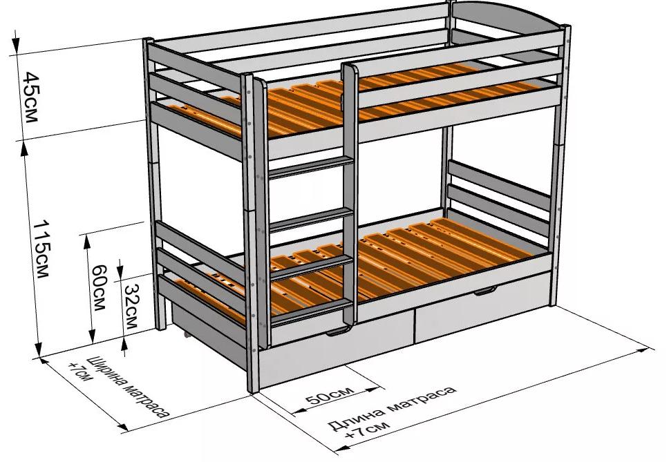 Схема: Двухъярусная кровать