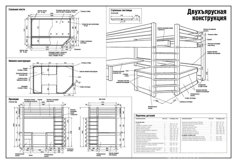 Схема: Двухъярусная кровать 4