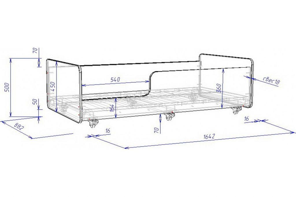 Размеры детской кровати с бортиками 1650 х 880