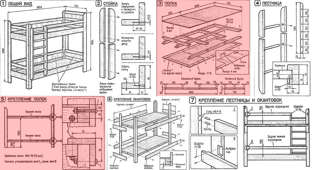 Схема: Двухъярусная кровать 3