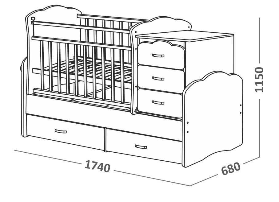 Размеры детской кровати трансформер 1740 х 680