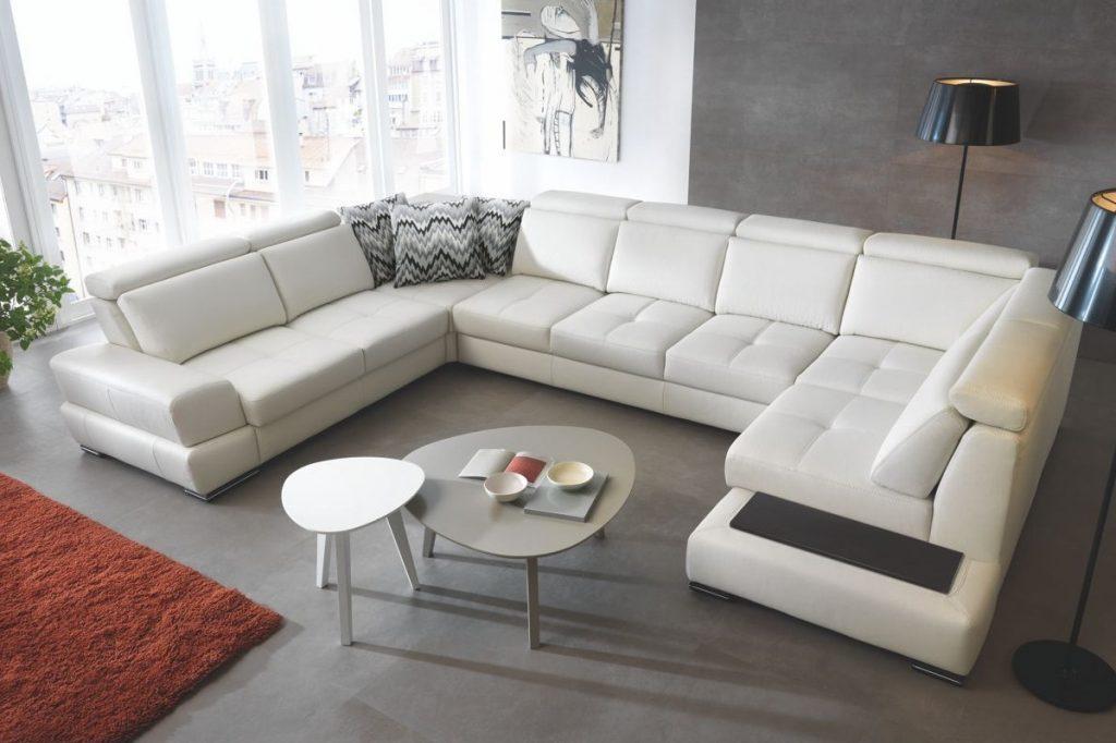 Модульный диван белый, кожанный