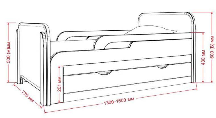 Стандартные размеры детской кроватки с бортиками для детей от 3х лет 1300 х 770