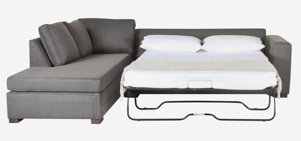Угловой диван с ортопедическим матрасом серый шенилл