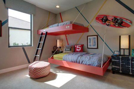 Парящая подвесная кровать на канатах