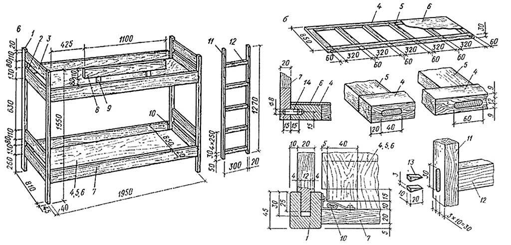 Схема: Двухъярусная кровать 5