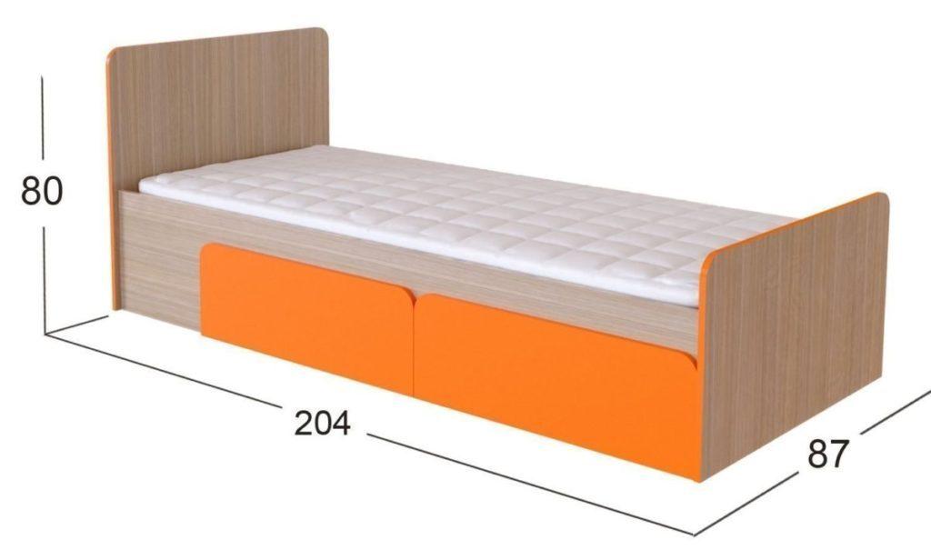 Стандартные размеры односпальной кровати 200-210 х 80-90