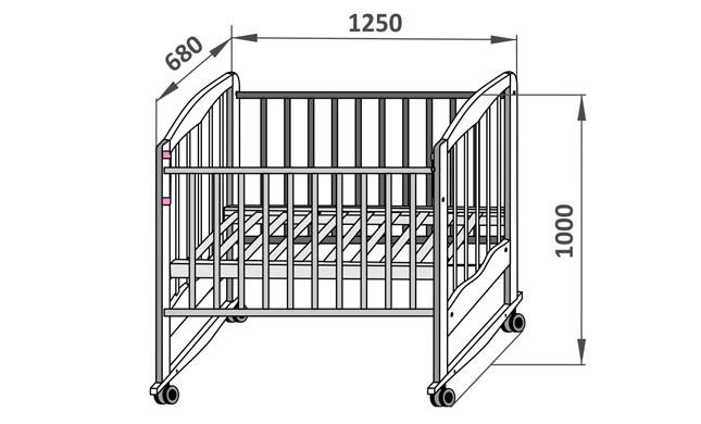 Стандартные размеры детской кроватки для новорожденных 1250 х 680