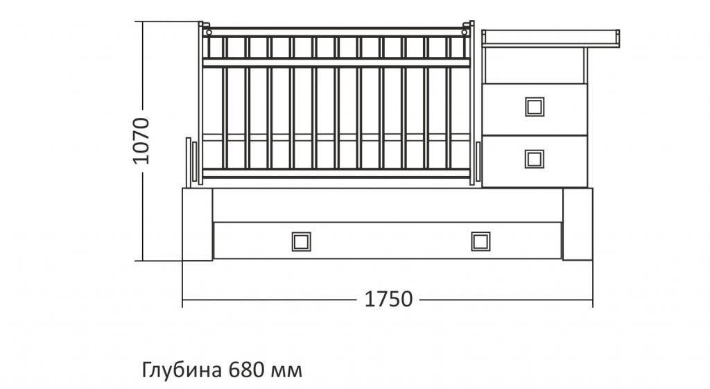 Размеры детской кровати трансформер 1750 х 680