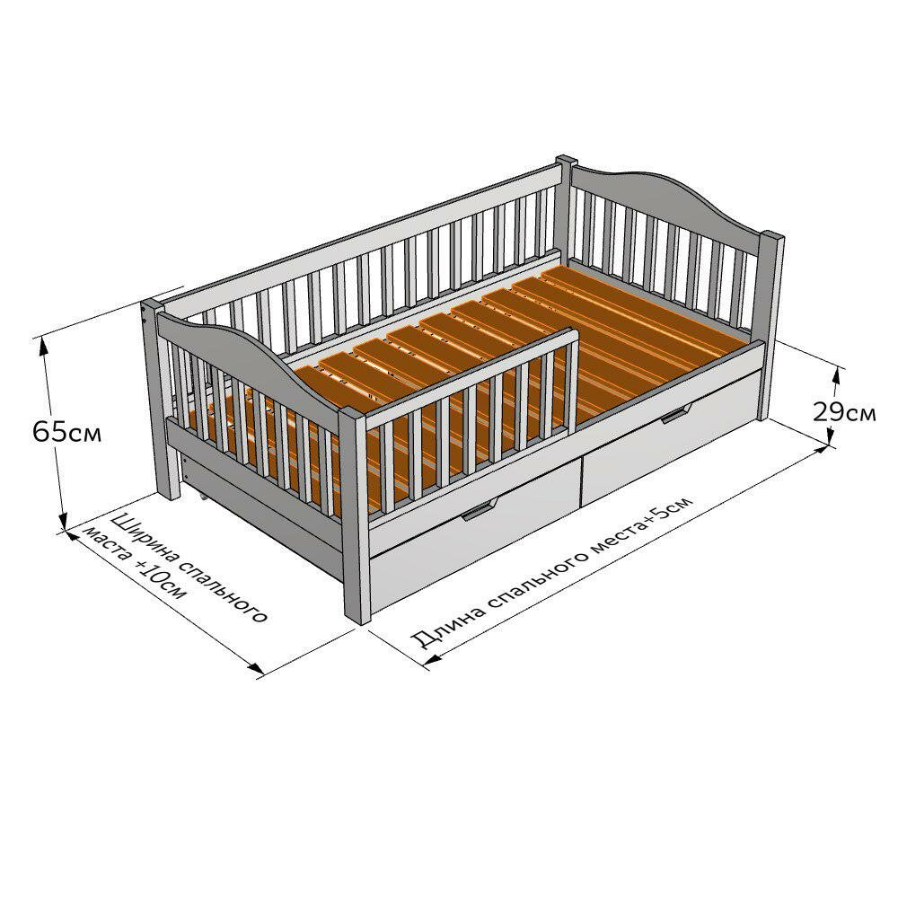 Стандартные размеры детской кроватки с бортиками для детей до 3х лет