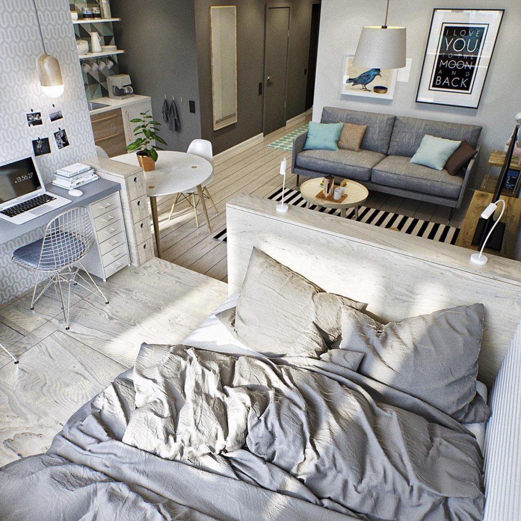 Правильно ставим кровать в квартире студии