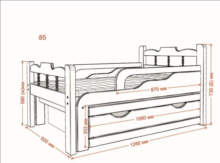 Стандартные размеры детской кроватки с бортиками для детей от 3х лет 1300 х 920