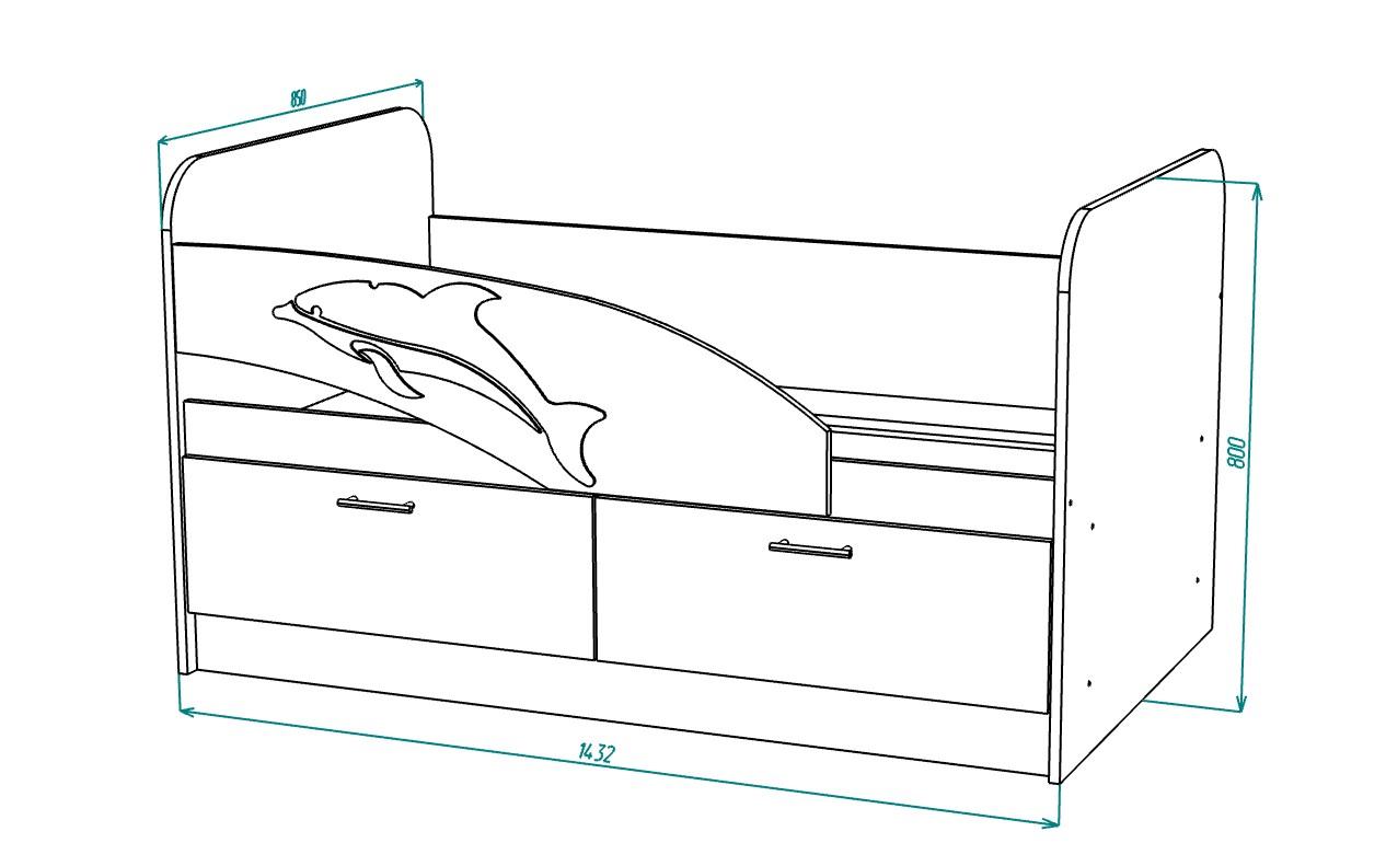 Размеры детской кровати дельфин 1432 х 800