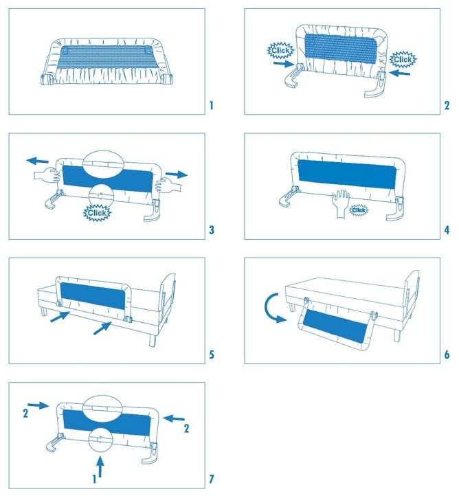 Схема: Металлический бортик для кровати от падении с подъемным механизмом